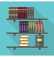 Bookshelf with many books vector image vector image