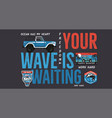 camping surf badge design outdoor adventure logo vector image vector image