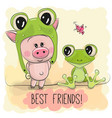 cartoon piggy in a froggy hat and frog vector image vector image