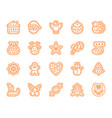 christmas gingerbread simple line icons set vector image