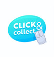 click and collect blue bubble with computer mouse vector image
