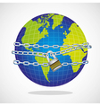 conceptual world with chain and padlock isolated o vector image
