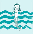cute baby mermaid vector image vector image