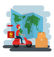 delivery service with courier in motorcycle vector image vector image
