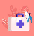 doctor or nurse character in white robe with clip vector image vector image