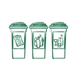 doodle Recycle bins garbage separation vector image
