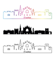 Exeter skyline linear style with rainbow vector image vector image