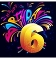 Fireworks Happy Birthday with a gold number 6 vector image vector image
