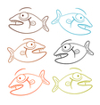Fish Outline Set Isolated on White Background vector image vector image