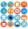 flat icon set with long shadow vector image vector image