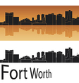 Fort worth skyline in orange background vector | Price: 1 Credit (USD $1)