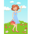 girl pick flowers in garden vector image vector image