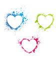 grunge multicolored hearts vector image vector image