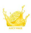 half lemon falling in yellow juice splash vector image vector image