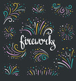 hand drawn colorful fireworks on dark background vector image vector image