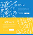 hand drawn woodwork elements banner vector image vector image
