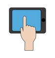 hand touch smartphone technology app vector image vector image