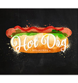 Hot dog chalk vector image vector image