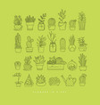 icon plants in pots day light green vector image vector image