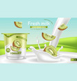 kiwi yogurt realistic product placement vector image vector image