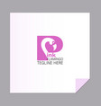 letter with a bird pink flamingo capital letter vector image