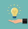 lightbulb in hand businessman vector image