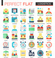 logistics transportation complex flat icon vector image vector image