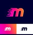 m letter winds movement dynamic logo velocity deli vector image vector image