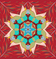 mandala colored on a red neutral and blue colors vector image