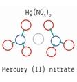 Mercury II nitrate HgN2O6 molecule vector image vector image