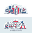modern city and amusement park banner template vector image