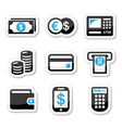 Money atm cash machine icons set vector image