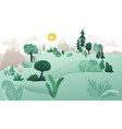 natural lanscape background with tree hills vector image