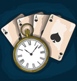 Old pocket watch and playing cards vector image vector image
