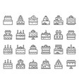 outline cake icons sweet cupcake homemade vector image vector image