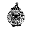 Owl in Christmas hat isolated black and white vector image vector image