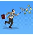Pop Art Businessman Catching Flying Money vector image vector image