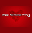 Red bload heart Valentines day card with sign on vector image