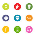 rock news icons set flat style vector image