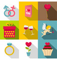 saint valentine icon set flat style vector image vector image
