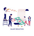salary reduction flat style design vector image vector image