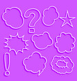 set comic chat bubbles and expression set vector image vector image