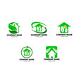set leaf and green house logo template vector image vector image