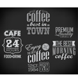 set of coffee labels on chalkboard vector image