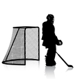 Silhouettes of hockey player Isolated on white vector image vector image
