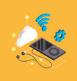 smartphone with headphones and service connect vector image vector image