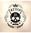 Tattoo old school studio skull vector image vector image