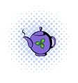 Teapot with tea icon comics style vector image vector image