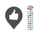 thumb up map marker icon with free bonus vector image vector image