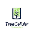 tree cellular mobile phone modern logo vector image vector image